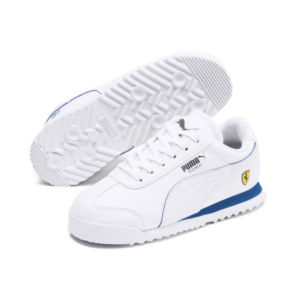 ZapatosScuderia Ferrari Roma para niños, White-White-Galaxy Blue, grande