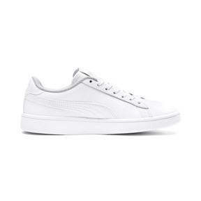 Miniatura 5 de Zapatos de cuero PUMA Smash v2 para niño pequeño, Puma White-Puma White, mediano