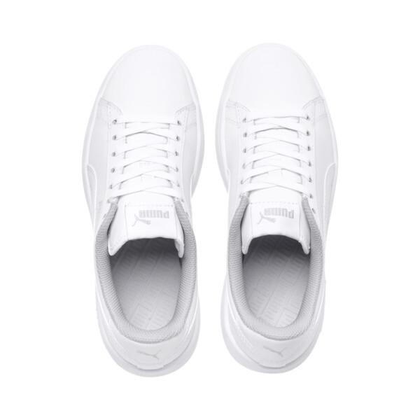 Zapatos de cuero PUMA Smash v2 para niño pequeño, Puma White-Puma White, grande