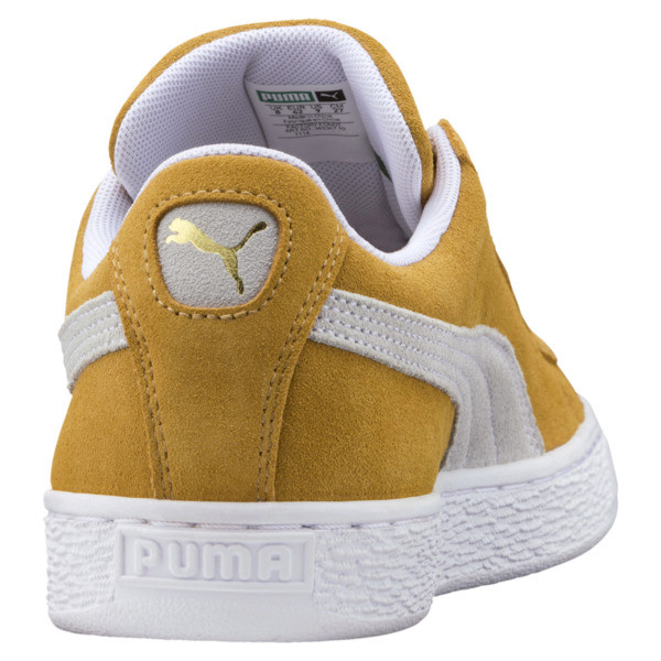 Suede Classic Sneakers, Honey Mustard-Puma White, large