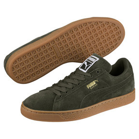 Thumbnail 2 of Suede Classic Trainers, Forest Night-Puma Team Gold, medium