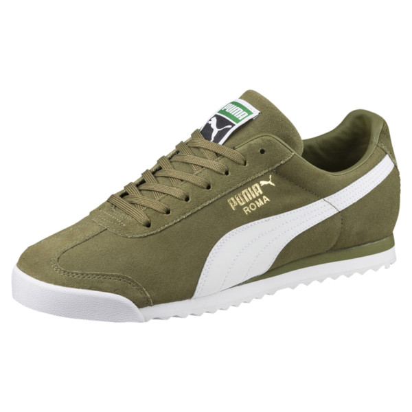 Roma Suede Trainers, Capulet Olive-Puma White, large
