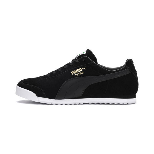 Roma Suede Sneakers, Puma Black-Puma Black, large