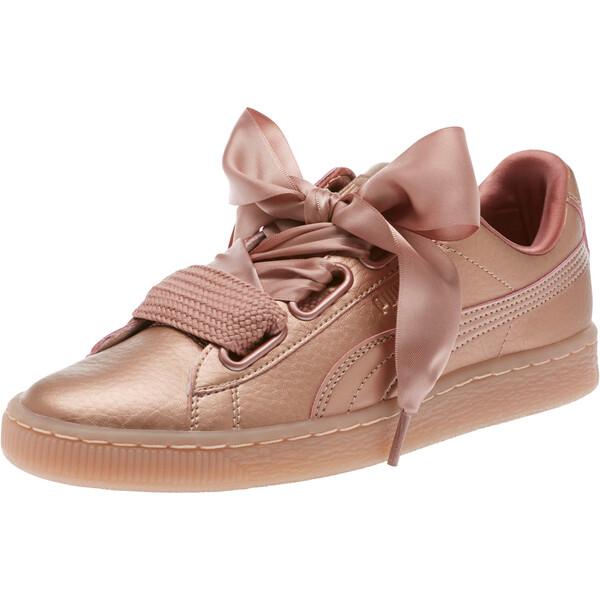 Basket Heart Copper Women's Sneakers, Copper Rose, large