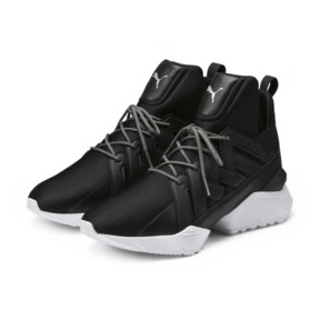 Thumbnail 2 of Muse Echo Satin Women's Sneakers, Puma Black-Puma White, medium