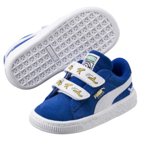 Thumbnail 2 of Minions Suede V Infant Sneakers, Olympian Blue-Puma White, medium