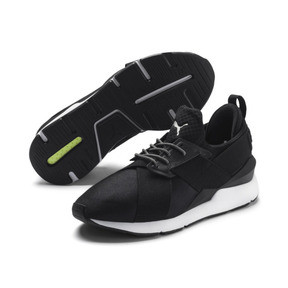 Thumbnail 2 of En Pointe Muse Satin Women's Trainers, Puma Black-Puma White, medium