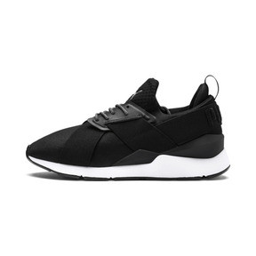 Thumbnail 1 of En Pointe Muse Satin Women's Trainers, Puma Black-Puma White, medium