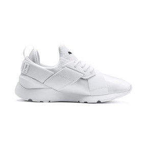 Thumbnail 5 of En Pointe Muse Satin Women's Trainers, Puma White-Puma White, medium