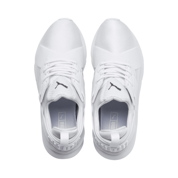 En Pointe Muse Satin Women's Trainers, Puma White-Puma White, large