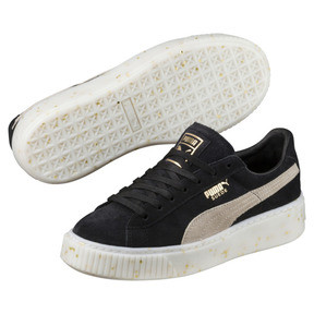 Thumbnail 2 of Suede Platform Celebrate Women's Sneakers, Puma Black-Puma White-Gold, medium