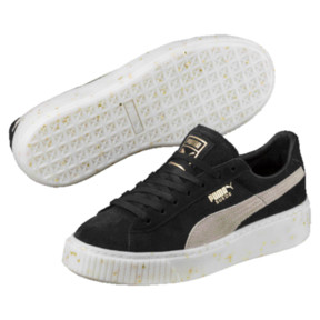 Thumbnail 1 of Suede Platform Celebrate Women's Sneakers, Puma Black-Puma White-Gold, medium