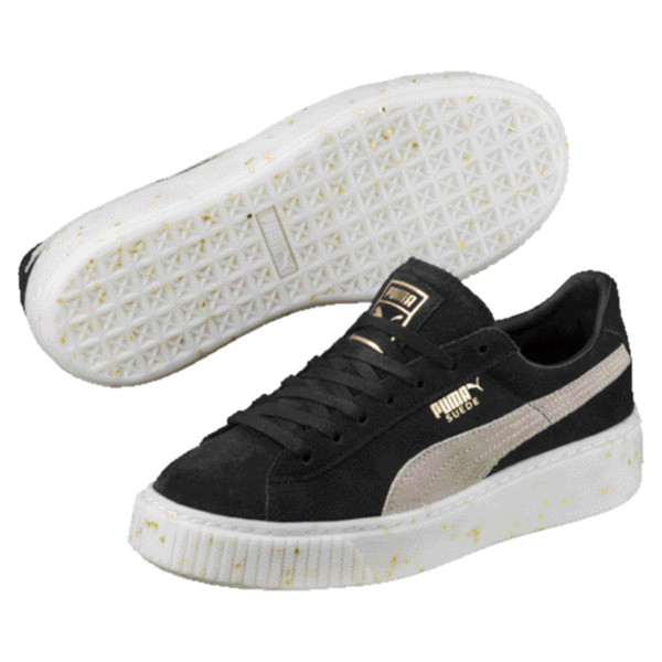Suede Platform Celebrate Women's Sneakers, Puma Black-Puma White-Gold, large