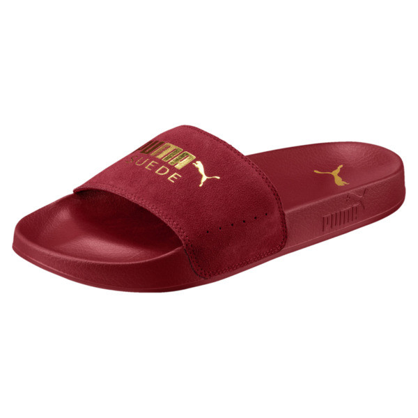 Suede Leadcat Sandals, Red Dahlia-Puma Team Gold, large
