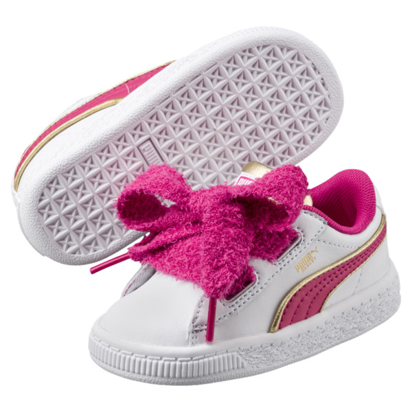Minions Basket Heart Fluffy Infant Sneakers, White-Beetroot Purple-Gold, large