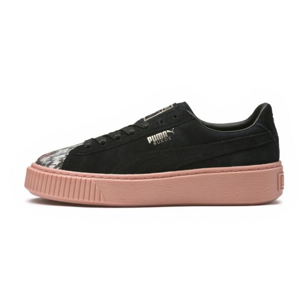 Platform Sunfaded Stitch Women's Sneakers, Puma Black-Peach Beige, large