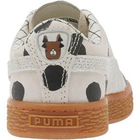 Thumbnail 4 of PUMA x tinycottons Basket Nubuck Preschool Sneakers, Birch-Puma Black, medium