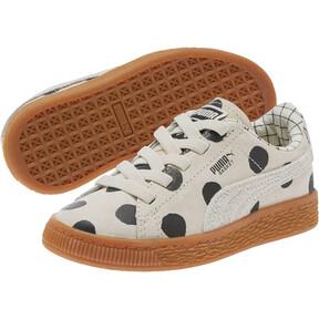 Thumbnail 2 of PUMA x tinycottons Basket Nubuck Preschool Sneakers, Birch-Puma Black, medium