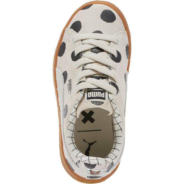 PUMA x tinycottons Basket Nubuck Preschool Sneakers, Birch-Puma Black, large