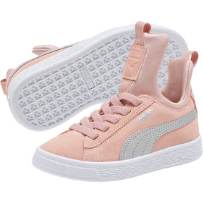 Thumbnail 2 of Suede Fierce AC Preschool Sneakers, Peach Beige-Metallic Beige, medium