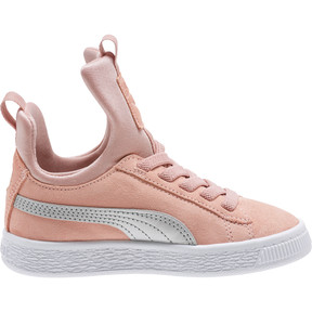 Thumbnail 3 of Suede Fierce AC Preschool Sneakers, Peach Beige-Metallic Beige, medium