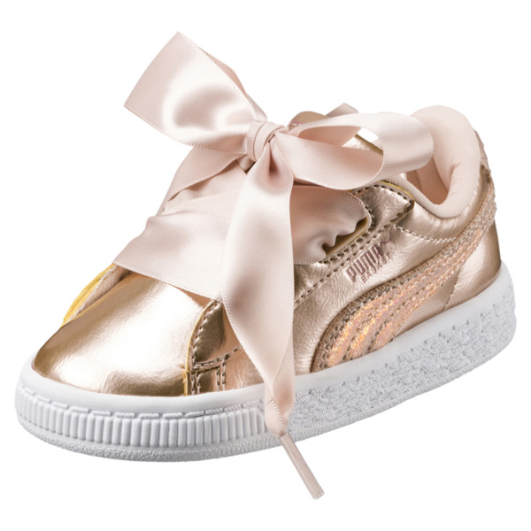 Basket Heart Lunar Lux Girls' Sneakers, Cream Tan, large