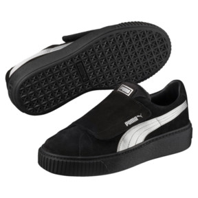 Thumbnail 2 of Platform Strap Satin EP Women's Sneakers, Puma Black-Puma Black, medium
