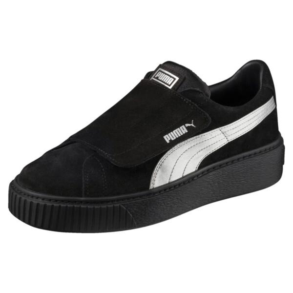 Platform Strap Satin EP Women's Sneakers, Puma Black-Puma Black, large