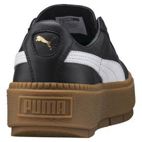 Thumbnail 4 of Platform Women's Trace Leather Sneakers, Puma Black-Puma White, medium