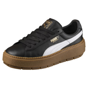 Thumbnail 1 of Platform Women's Trace Leather Sneakers, Puma Black-Puma White, medium