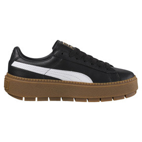 Thumbnail 3 of Platform Women's Trace Leather Sneakers, Puma Black-Puma White, medium