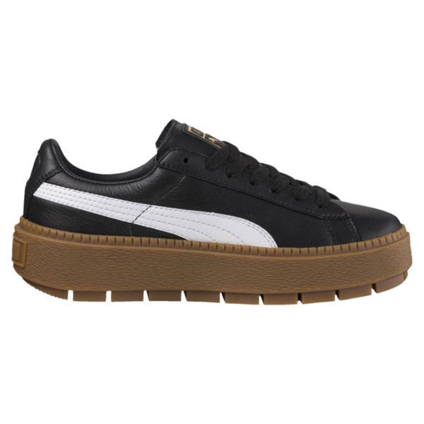 Platform Women's Trace Leather Sneakers, Puma Black-Puma White, large