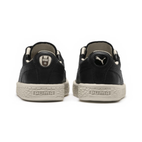 Thumbnail 4 of PUMA x tinycottons Basket Pompom Kids Sneakers, Puma Black-Birch, medium