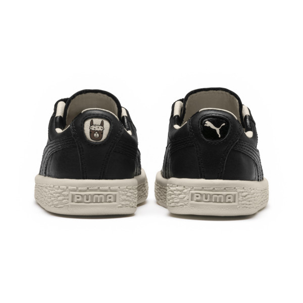 PUMA x tinycottons Basket Pompom Toddler Shoes, Puma Black-Birch, large