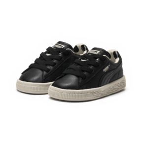 Thumbnail 2 of PUMA x tinycottons Basket Pompom Kids Sneakers, Puma Black-Birch, medium