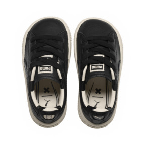 Thumbnail 5 of PUMA x tinycottons Basket Pompom Kids Sneakers, Puma Black-Birch, medium