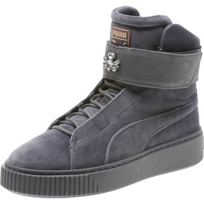Thumbnail 1 of Platform Mid Velour Women's Sneakers, 01, medium