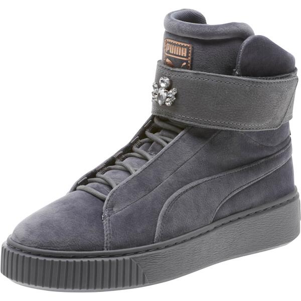 Platform Mid Velour Women's Sneakers, 01, large