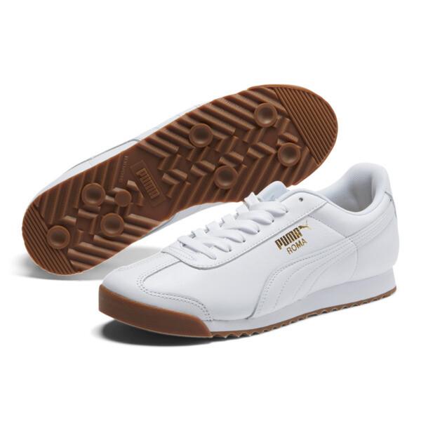 Roma Classic Gum Sneakers, Puma White-Puma Team Gold, large