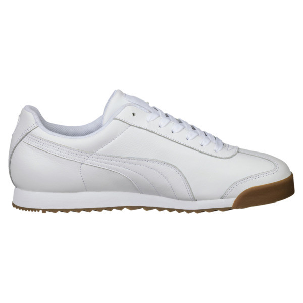 Roma Classic Gum Trainers, Puma White-Puma Team Gold, large