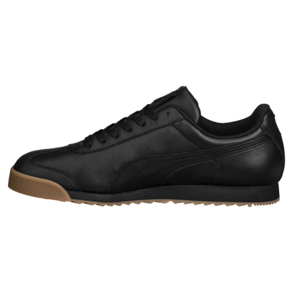 Roma Classic Gum Trainers, Puma Black-Puma Team Gold, large
