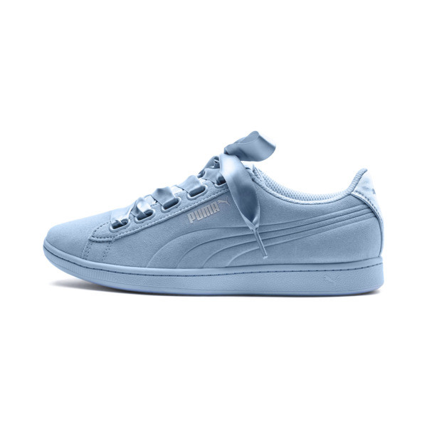 Vikky Ribbon Satin Women's Sneakers, CERULEAN-CERULEAN, large