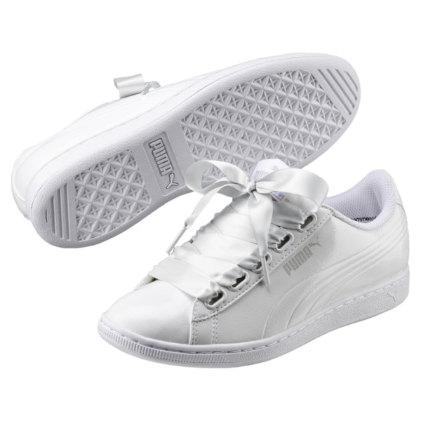 Vikky Ribbon Patent Women's Sneakers, Puma White-Puma White, large