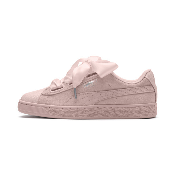 Suede Heart Bubble Women's Trainers, Pearl-Pearl, large