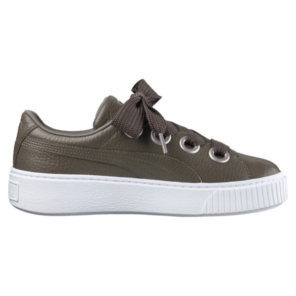 Platform Kiss Leather Women's Sneakers, Bungee Cord, large