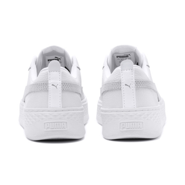 Puma Smash Platform Women's Shoes, Puma White-Puma White-White, large