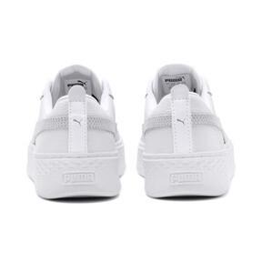 Thumbnail 3 of Smash Platform Leather Women's Sneakers, Puma White-Puma White-White, medium
