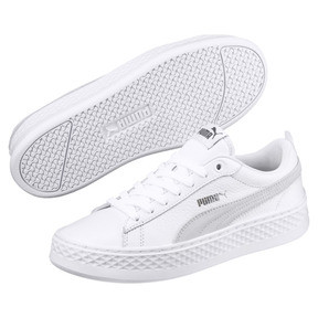 Thumbnail 2 of Smash Platform Leather Women's Sneakers, Puma White-Puma White-White, medium