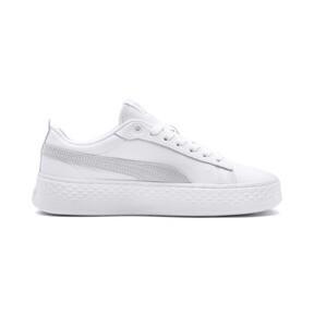 Thumbnail 5 of Smash Platform Leather Women's Sneakers, Puma White-Puma White-White, medium