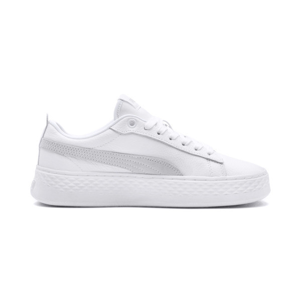 e919016f7af Smash Platform Leather Women's Sneakers, Puma White-Puma White-White, large